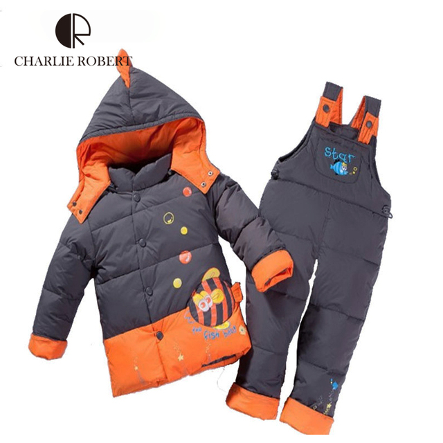 CR New Children Clothing Set Cute Fish Pattern Winter Kid Jacket Set For Girls And Boys Fashion  Hooded Winter Jacket KS420