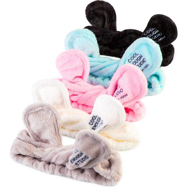 Elástico Orejas de conejo pañuelo de extensión de pestañas suave lavado de cara diadema sostenedor del pelo banda baño Spa precioso maquillaje Accesorios