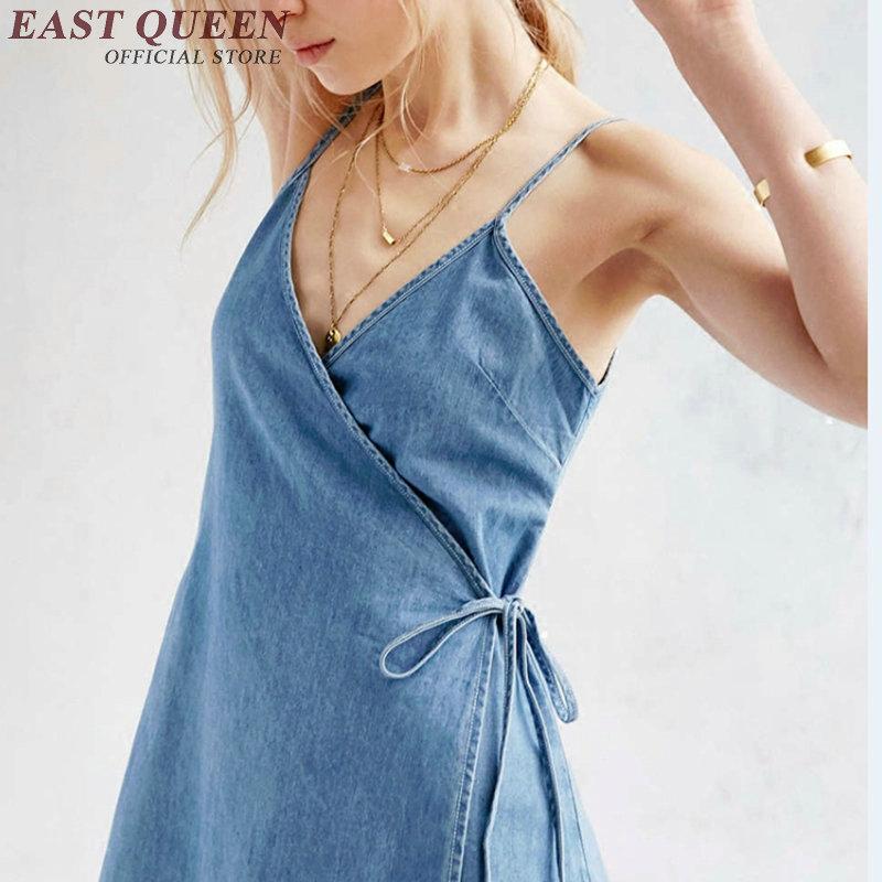 2017 Denim Dress Blue Sexy Denim Sundress Women Female -2255