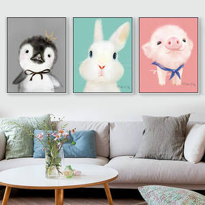 Cute Rabbit Pig Animal Art Posters Cartoon Anime Canvas Painting Wall Art Print Picture Girls Kid Baby Room Home Decor No Frame