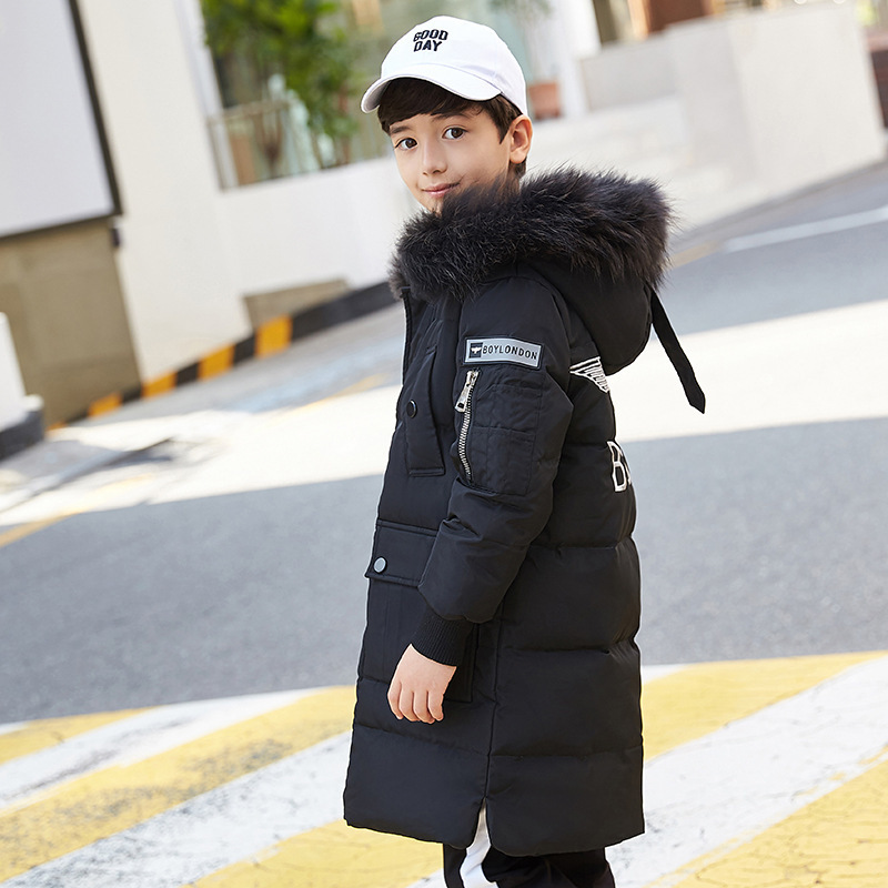 Kids boy Winter Jacket with Fur Collar Children Boys Parka Clothes 2018 Long Warm Hooded Cotton Coats Big Size 8 10 12 14 Year boys winter parka jacket kids fur collar coats for teenager boys cotton outwear school children kids down jacket hooded clothes