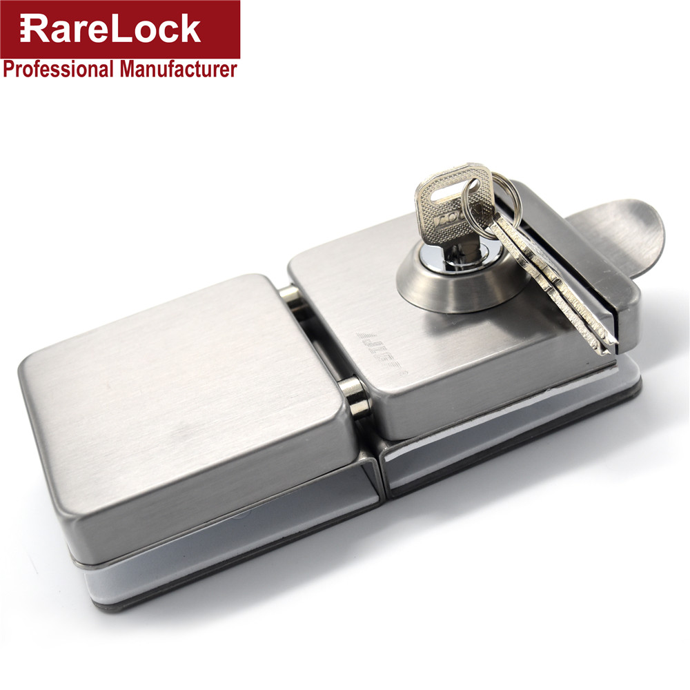 Rarelock Christmas Supplies Sliding Door Lock Stainless Steel With 3 Keys Glass Window Locks Cerradura high quality qrignal best selling 304 stainless steel glass door lock with keys factory direct price