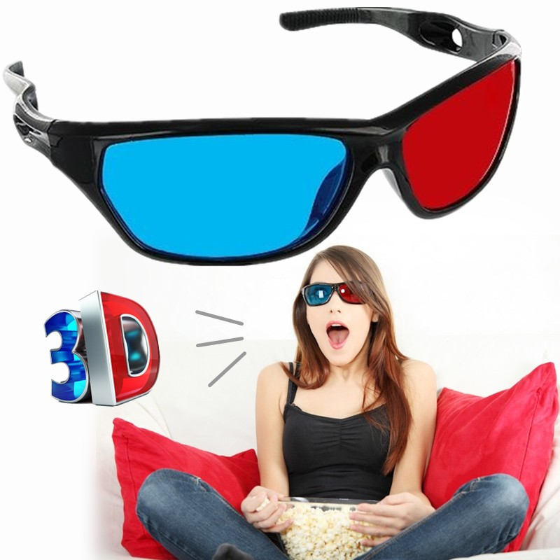 New ABS Virtual reality glasses 3D Glasses Red Blue Lens Virtual Reality For Video Movie Anaglyph Plastic Style 3D des lunettes