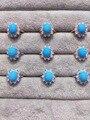 Anillo de piedra de la turquesa Natural de la piedra preciosa verde Natural Anillo S925 plata esterlina de moda elegante Joyería del partido de las mujeres de girasol grande
