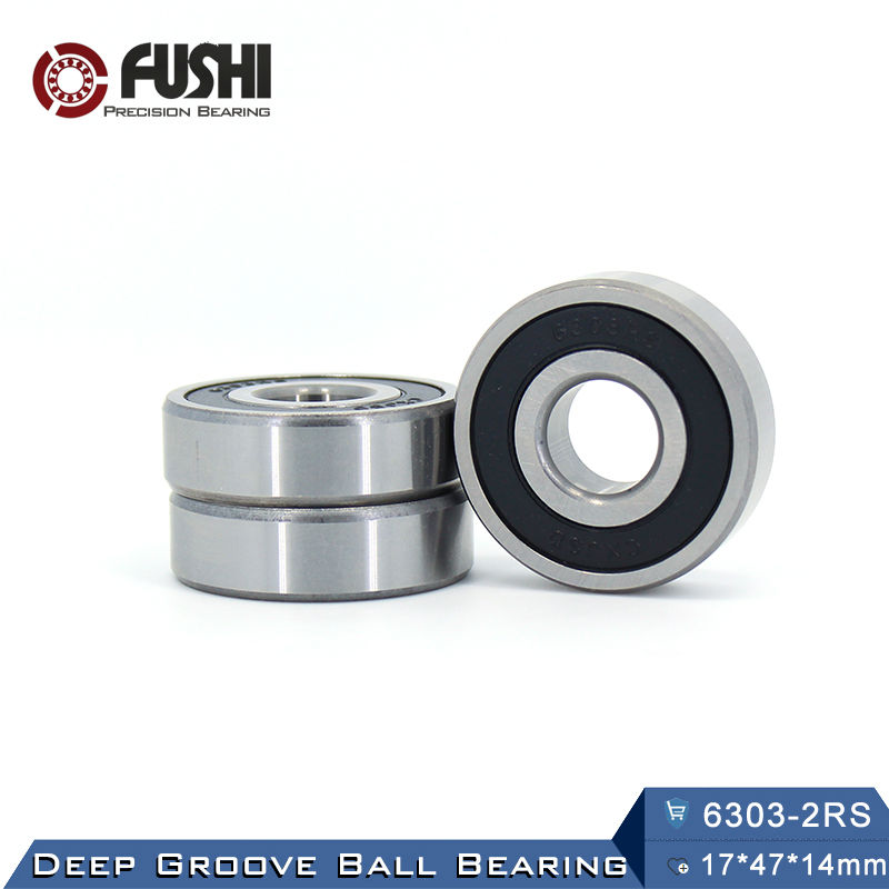 6303RS Bearing ABEC-3 (2 PCS) 17*47*14 mm Deep Groove 6303-2RS Ball Bearings 6303RZ 180303 RZ RS 6303 2RS EMQ Quality 6312rs bearing abec 3 1 pcs 60 130 31 mm deep groove 6312 2rs ball bearings 6312rz 180312 rz rs 6312 2rs emq quality