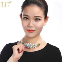 U7 Fancy Stone Crystal Bib Necklace Women Valentines Gift Bohemia Luxury New Maxi Statement Necklace Choker