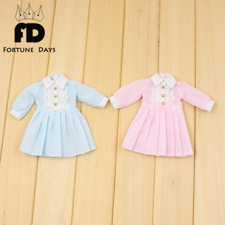 Free shipping Blyth Doll dress clothes blue pink dress long sleeves Autumn dress black col boule ruffled hem long sleeves mini dress