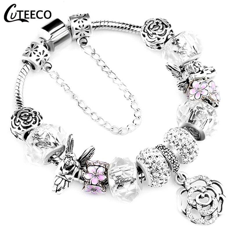 CUTEECO 925, модный серебряный браслет с шармами, браслет для женщин, Хрустальный цветок, сказочный шарик, подходит для брендовых браслетов, ювелирные изделия, браслеты - Окраска металла: AA0105