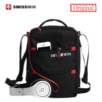 Swisswin Fashion Messenger Shoulder Bag Men Mini Black Crossbody Bag For Ipad Casual Oxford Messenger Satchel
