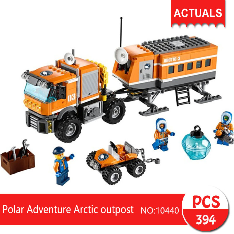 Lepin bela 10440 394Pcs City series Polar Adventure Arctic outpost Model Building Blocks Set Bricks Toys For Children Gift 60035 bela 10439 compatible lepin city arctic helicrane building blocks policeman figure toys for children girls