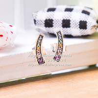 2018 Spring S925 Sterling Silver Multi-Color Arches Stud Earrings With CZ Stud Earrings For Women Fashion Jewelry EA104
