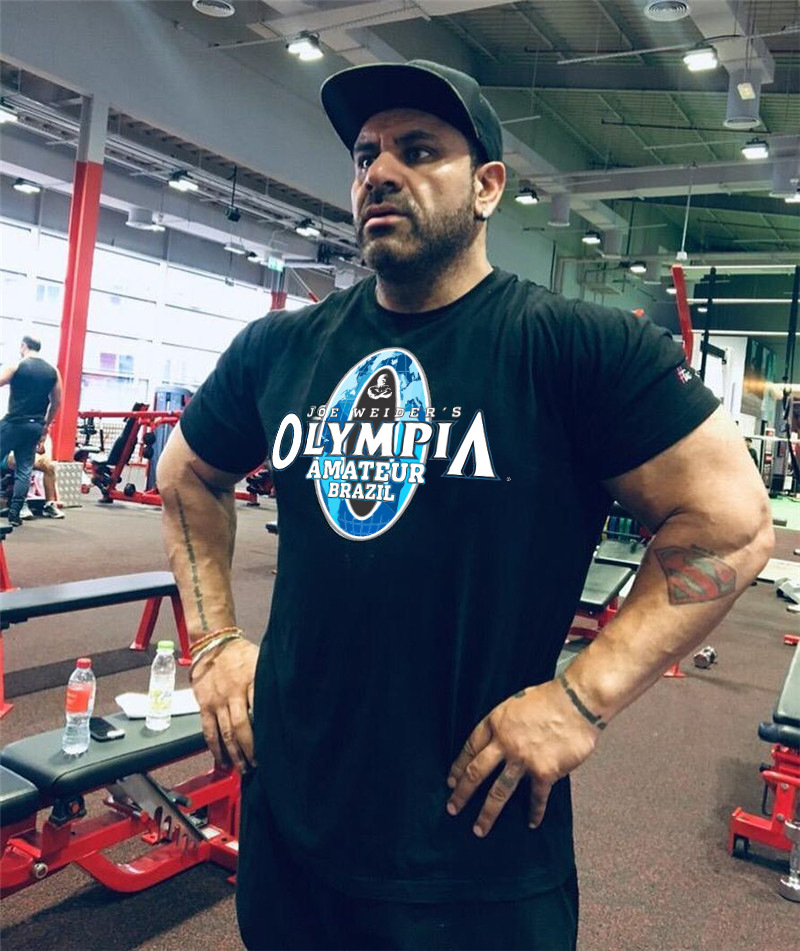 New Mens T-shirt Gyms Fitness Bodybuilding T Shirts Skull Olympia Amateur Brazil Casual Men Tshirts Breathable Tops