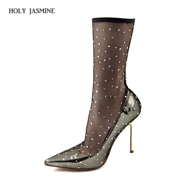5f66f6d7bf5 2018 New fishnet pumps socks boots pump shaft women shoes gold pointed Toe  high heel fashion shoes