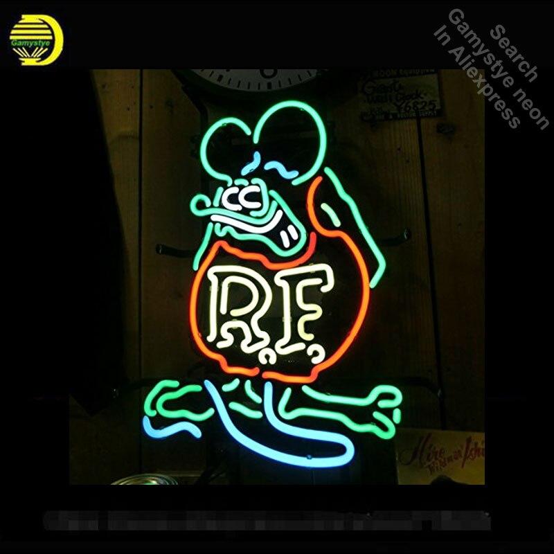 Неоновая вывеска для крыса Финк Мышь Ретро RF Войдите неоновая трубка коммерческих свет гараж ручной работы лампы магазине отображает неоно