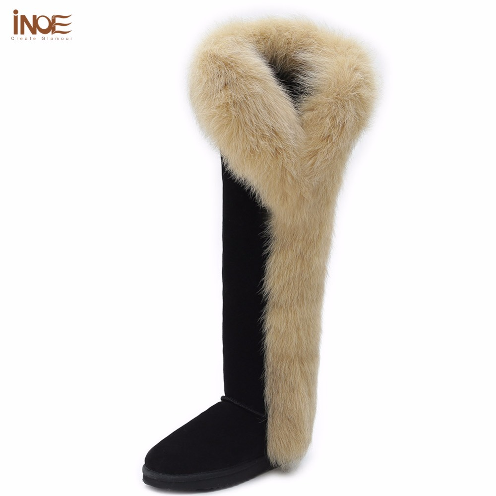 INOE fashion fox fur botas cow suede leather over the knee long winter snow boots for