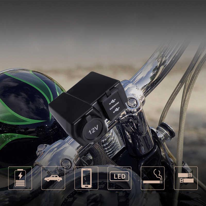 12V Motorcycle Charger Led Voltmeter Motorbike Cigarette Lighter Dual USB Socket for Harley Suzuki Yamaha Kawasaki Phone GPS