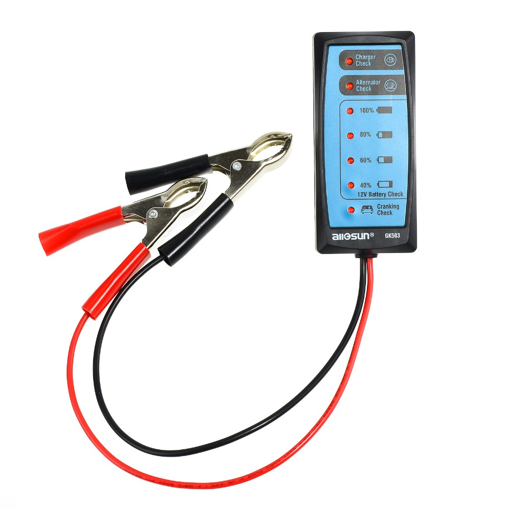 all-sun GK503 Mini 12V Automotive/ Car Battery Tester/ Alternator/ Cranking Check with 6-LED Display Easy to Use