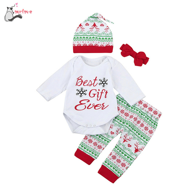 a5e91fdea543 4Pcs Infant newborn clothes Baby Boy Girl cute Romper  Tops+Pants+Hat+Headband Christmas Outfits Set Best Gift Ever body infantil