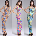 Sexy Women Maxi Dress Sleeveless Vest Print Tight Long Dress Bottoming Package Hip Slim Dress Vestido