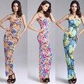 Mujeres Sexy Vestido Maxi de Impresión Chaleco Sin Mangas Vestido Largo Ajustado Vestido de Tocar Fondo Paquete Delgado de La Cadera