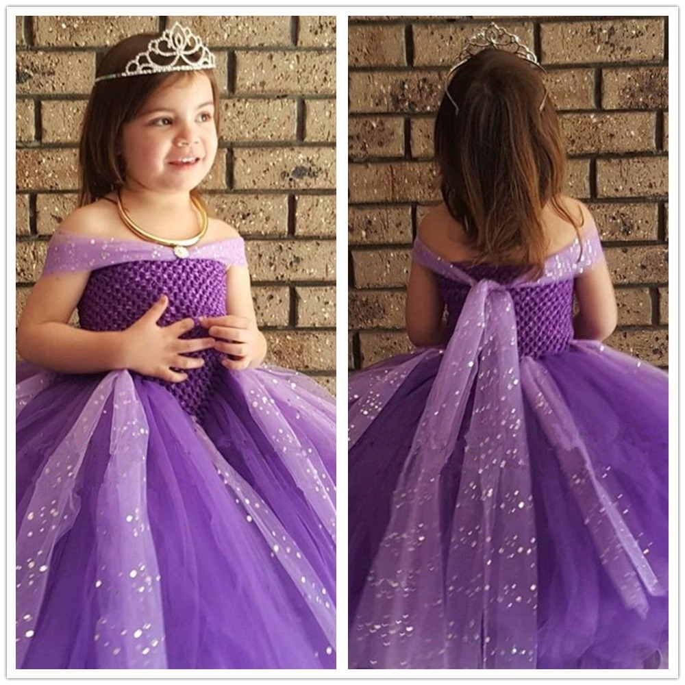 Pageant Princess Cinderella Prom Ball Gown Sparkle Girl Birthday Party Dress Fancy Girl Cosplay Belle Custom For Juniors Photos ball gown sky blue open back with long train ruffles tiered crystals flower girl dress party birthday evening party pageant gown