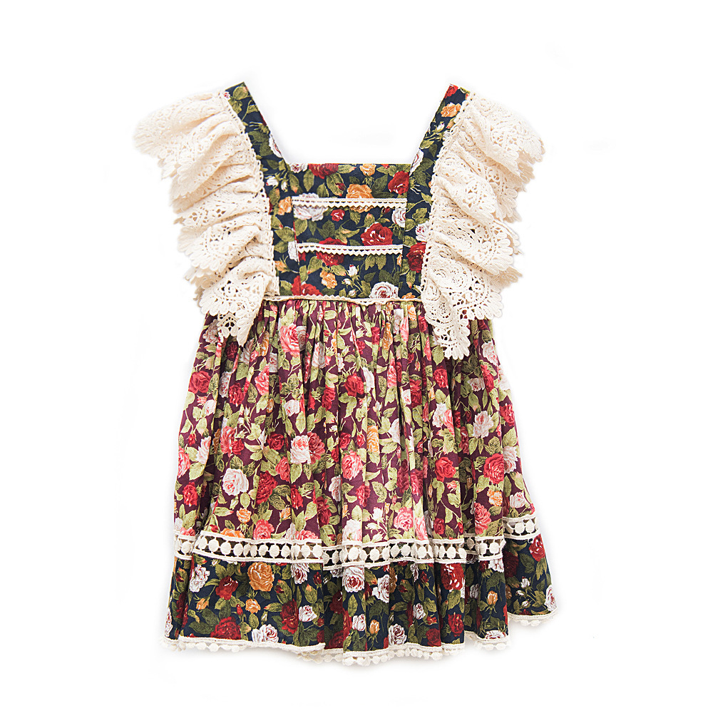 High-end Lace Sleeve Baby Girls Princess Dresses High Waist Floral Print Toddlers Kids Pleated Dress Summer Costumes Wholesale