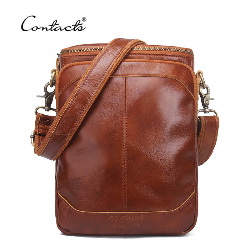 CONTACT'S Genuine Leather Men Bags Business Male Messenger Bag Designer Handbags High Quality Brand Crossbody Shoulder Bag цена