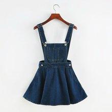 Vintage Sweet Preppy Style Womens takedown braces mini Denim Skirt Ladies A-line