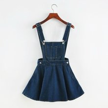 New 2015 Vintage Sweet Preppy Style Womens takedown braces mini Denim Skirt Ladies Girls A-line Suspender Skirt S M L 2019 korean summer vintage sweet preppy style skirt women jeans blue suspender skirt blue casual denim straps overall mini skirt