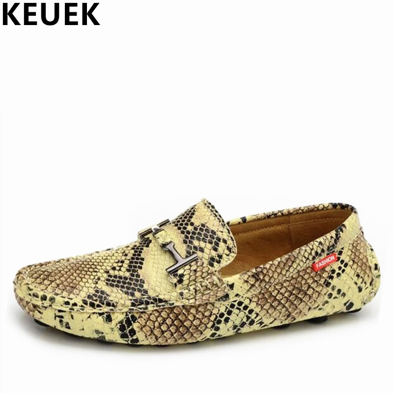 Snake Pattern leather Fashion Men's Flats Breathable Driving Shoes Casual Loafers Boat shoes Male Moccasins 01B mycolen men leather casual shoes loafers fashion men shoes moccasins chaussures flats male breathable driving shoes sapatos