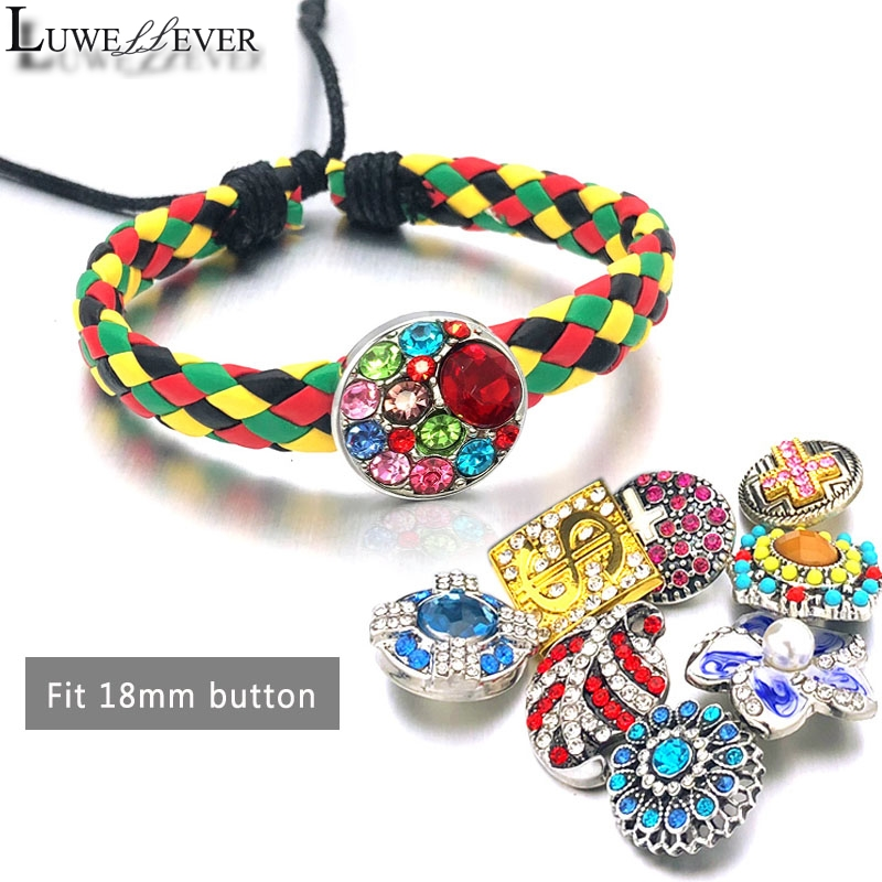 Fashion Adjustable 019 Pu Leather Bangle Hand Weave Fit 18mm Snap Button Bracelet Interchangeable Charm Jewelry For Women Gift in Charm Bracelets from Jewelry Accessories