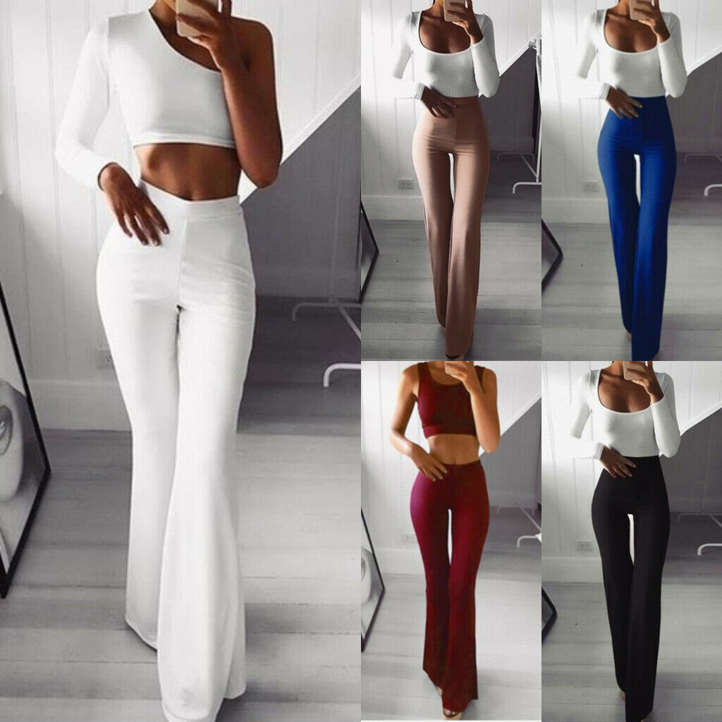 Women's Palazzo Flared Wide Leg Pants High Waist OL Bootcut Career Flared Long TrousersHot