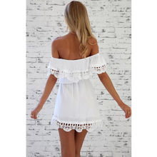 MOARCHO 2017 New Style Summer Women White Lace Stitching Dress Off Shoulder Strapless Sexy Dress Slash Neck Mini Dresses Vestido
