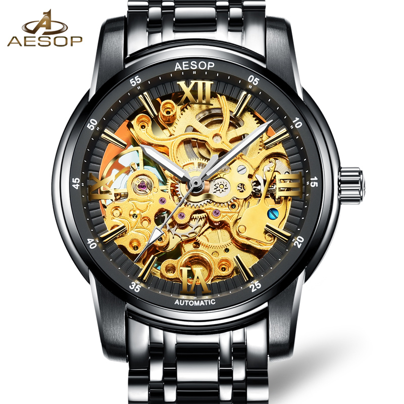 Luxury skeleton watch men sapphire glass stainless steel waterproof Automatic machine watch relogio masculine luxury moon phase watch men sapphire glass stainless steel waterproof automatic machine date watch relogio masculine