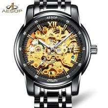 Роскошные часы скелет мужчины сапфировое стекло нержавеющая сталь водонепроницаемый автомат часы relogio мужской