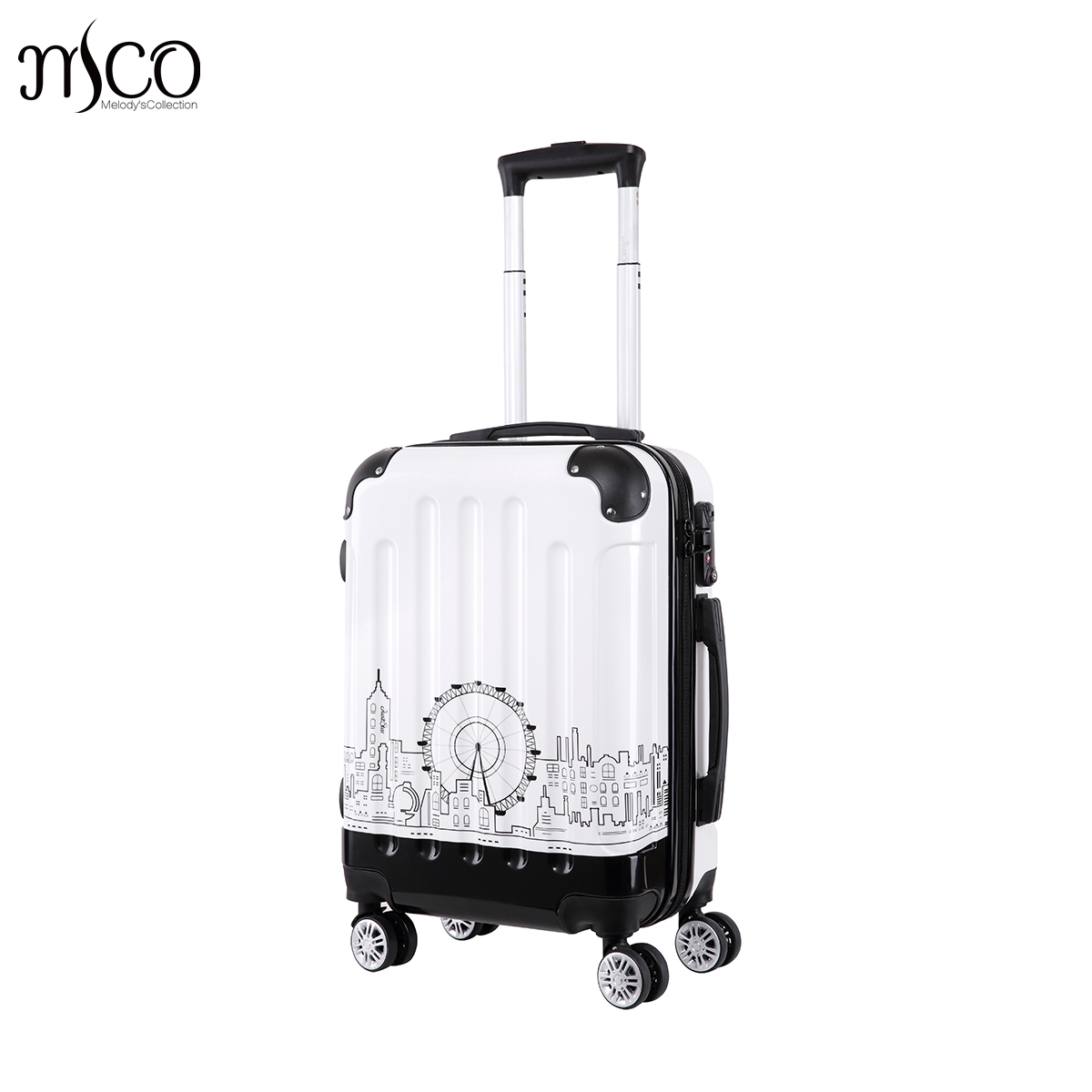 20-Inch Carry On Women Town printing Spinner trolley luggages travel case Girls Rolling PC Hardside TSA Lock Boarding Luggages wholesale retro abs pc hardside case aluminum alloy frame 26 inch luggage on universal wheels high quality tsa lock trolley box