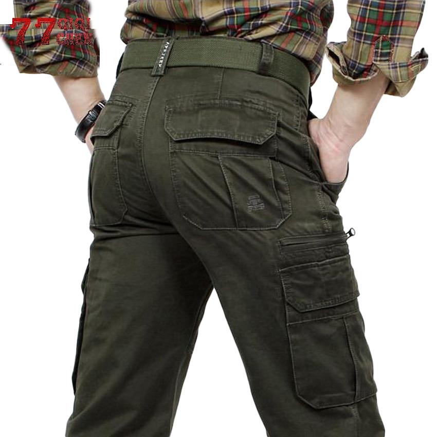 Qiqichen Marke Männer Cargo Hosen Armee Grün Multi Taschen Kampf Casual Baumwolle Lose Gerade Hosen Military Tactical Pants ZuverläSsige Leistung Mutter & Kinder