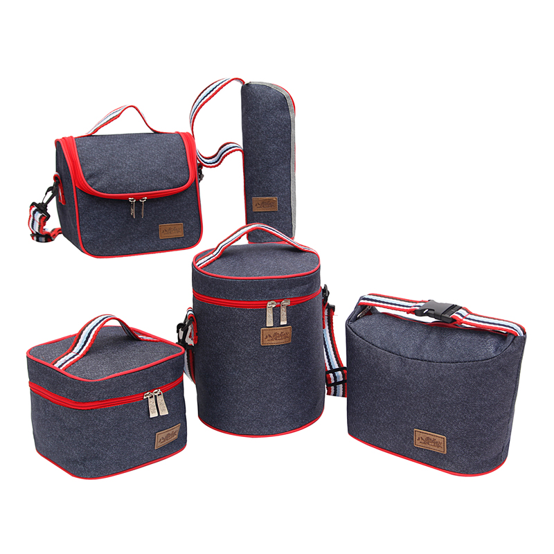 Denim Lunch Bag Kid Bento Box Insulated Pack Picnic Drink Food Thermal Ice Cooler Leisure Accessories Supplies Product Stuff 2 layers family cooler bags thermal iced drink lunch box picnic food storage shoulder handbag pouch accessories supplies product