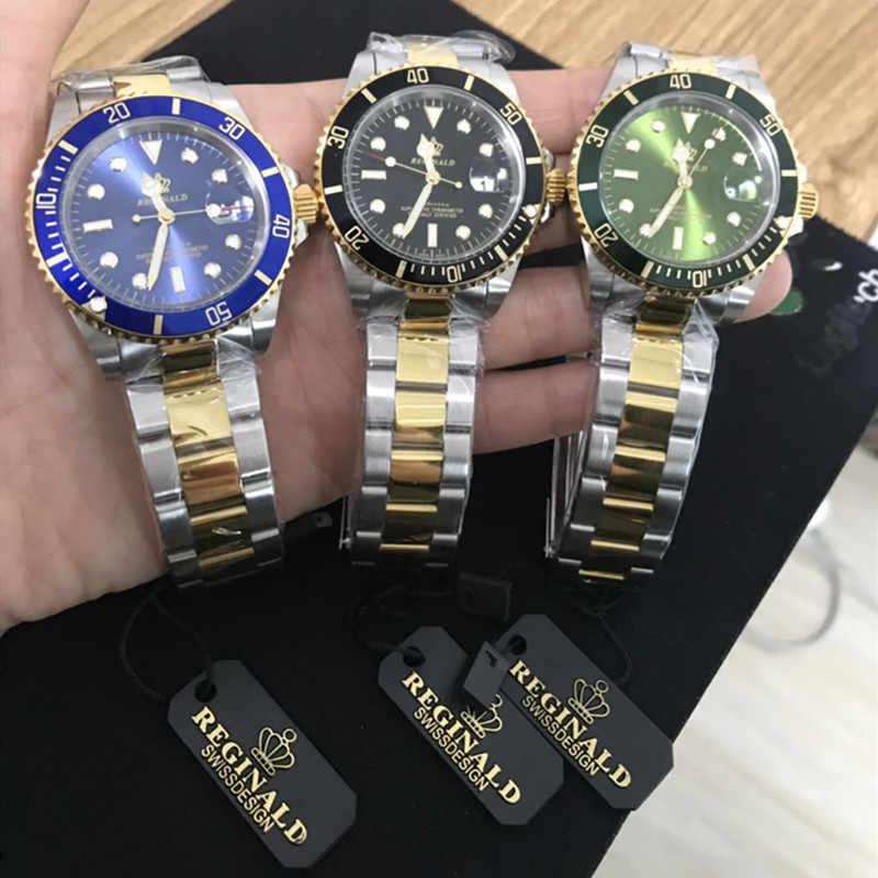 Часы Реджинальд, мужские, с вращающимся ободком, GMT, сапфировое стекло, 50 м, водонепроницаемые, полностью стальные, спортивные, модные, с синим циферблатом, кварцевые часы, Reloj Hombre