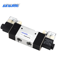 3V420 Series 1/2 G Solenoid Valve Pneumatic Control Valve Single Double Coil Pneumatic Valve AC DC 12V 24V 36V 110V 220V 380V dc 12v 2 positions twin solenoid valve base muffler quick fittings set