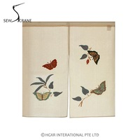 SewCrane Flying Butterflies Wildflowers Embroidery Design Japanese Noren Home Restaurant Door Curtain Noren Doorway Room Divider