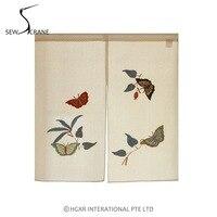 SewCrane Flying Butterflies Wildflowers Embroidery Design Japanese Noren Home Restaurant Door Curtain Noren Doorway Room Divider
