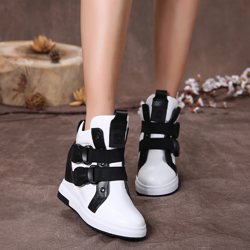 2017 Genuine Leather Women Casual Shoes Flat Platform Black White Ankle Boots Height Increasing Women Fashion Shoes
