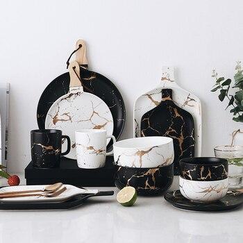 Лучшие Золотые Мраморные глазури, керамические вечерние столовые приборы, набор фарфоровых тарелок для завтрака, посуда, миска для лапши, к...