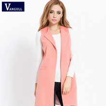 2016 Winter Women's coat New Fashion Casual Solid Korean Version Round Neck Sleeveless Long Slim-type Cardigan Coat Jacket