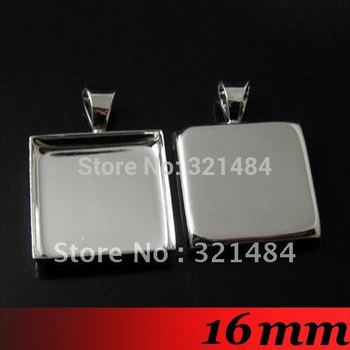 Free ship! 100piece 16mm Platinum Dull Silver Plated Metal Square Pendant blanks and base trays bezel cameo cabochon setting