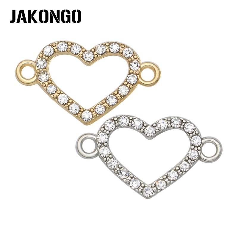 JAKONGO Gold/Antique Silver Color Crystal Hollow Heart Connectors For Making Bracelet Jewelry Findings Accessories 21*12mm 6pcs
