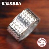 BALMORA 100% Echt 925 Sterling Silber Buddhistischen Mantra Ringe Religiöse Schmuck Frauen Männer S925 Silber Ring Hochwertigen SY20199