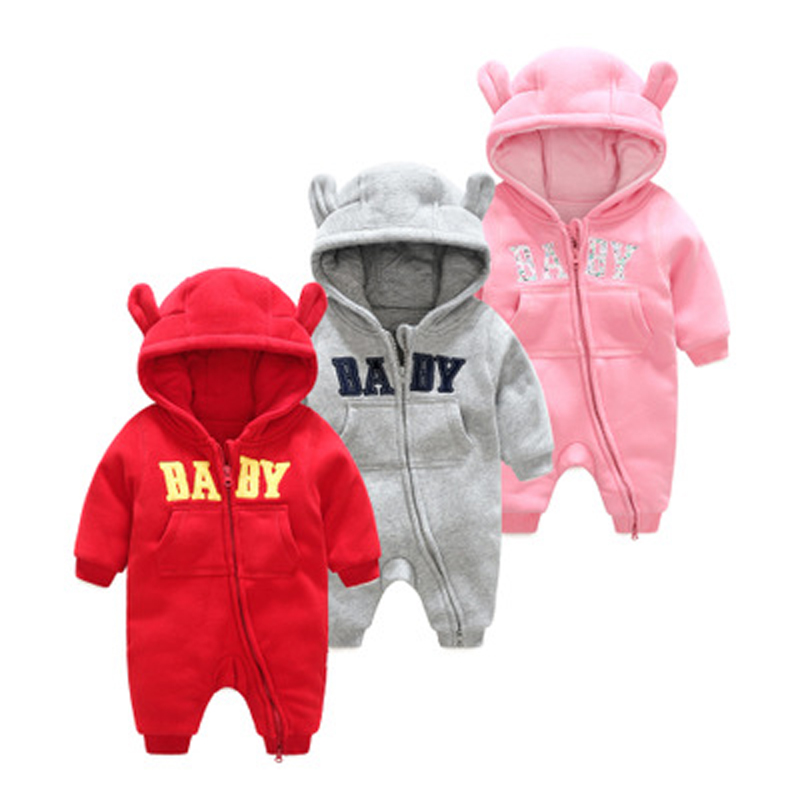 2018 Autumn Winter Newborn Baby Romper Baby Boys Girls Cute 3D Bunny Ear Jumpsuit Infant Toddler Long Sleeve Hooded Kid Clothing