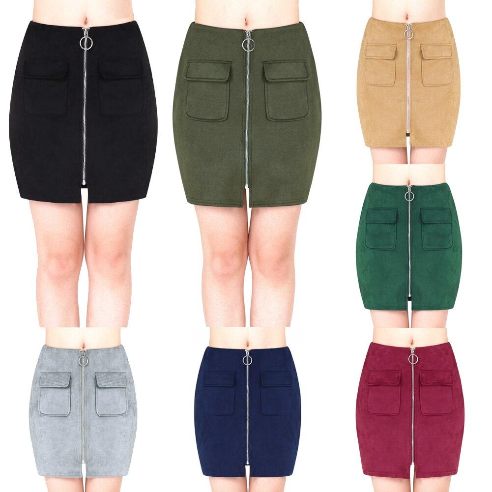 Nuevas mujeres mini Suede Faldas bolsillos con cremallera frente ... 79adac1db24c